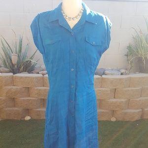 Jones New York turquoise linen shirt dress
